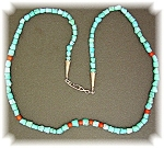 Native American Sterling Silver Turquoise Coral Beads