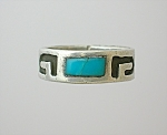 Sterling Silver Turquoise Patterned Band Ring..