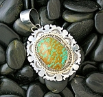 Sterling Silver Green Tan Turquoise Pendant E.etsitty
