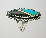Ring American Indian Turquoise Onyx Gold Silver