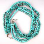Sterling Silver 5 Strand Turquoise Necklace Exex