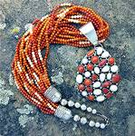 Necklace Red Angelskin Coral Sterling Silver 10 Strand