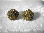 Golden Rhinestone Claw Set Clip Earrings