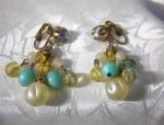 Dangly Clip Earrings Rhinestone And Glass Beads