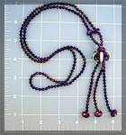 Necklace Purple White Crystal Ball And Tassle .........