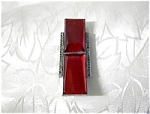 Dress Clip French Red Glass Silvertone Art Deco
