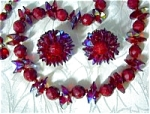 Hobe Crimson Crystal And Glass Necklace & Earrings