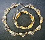 Trifari Crown Gold Plate Necklace And Bracelet 40s