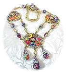 Millafiore Disc Drop Glass Bead Necklace Italy