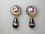 Venetian Glass Goldstone Black Clip Teardrop Earrings