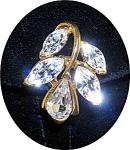 Earrings Trifari Tm Vintage Gold And Crystal Clip