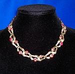Vintage Lisner Gold Red Borealis Crystal Necklace