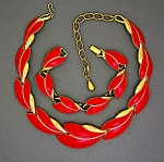 Trifari Tc Gold And Red Enamel Necklace And Bracelet