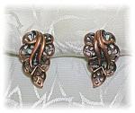 Copper Clip Leaf Earrings
