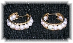 10k Gold Genuine Pearl Hoop Earrings.