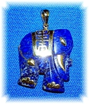 Pendant 14k Yellow Gold And Blue Lapis Elephant