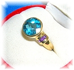 10k Gold Blue Topaz And Amethyst Ring . . . . . . .