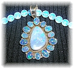 Sterling Silver Natural Opals Opaline Bead Necklace