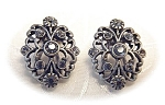 Silvertone Signed Lc Rhinestone Earrings