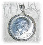 1967 Jfk Sterling Silver Half Dollar Pendant