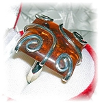 Large Sterling Silver And Amber Ring.....