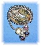 Sterling Silver Agate Citrine Garnet Brooch