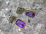 Sterling Silver Amethyst Hinged Earrings