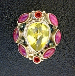Citrine Ruby Garnet Sterling Silver Ring