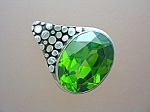 Sterling Silver Peridot Faceted Cz Pendant