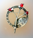 Silver Mexica Flowers And Leaf Brooch Red Glass Berries