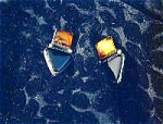 Gold Amber Sterling Silver And Onyx Clip Earrings