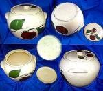 Watt Pottery Bean Pot And Lid Apple Pattern
