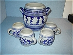 Antique German Salt Glaze Container & 4 Cups