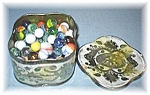 Tin Of 112 Old Glass Marbles From England