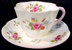 Shelley Roses And Red Daisy Coffee Cup And Saucer Set - Dainty Shape