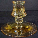 Heisey Mercury Wheel Cut Candlestick - Sahara Yellow