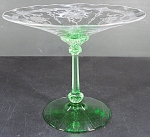 Heisey Old Dominion Compote Moongleam Green And Crystal Empress Etch
