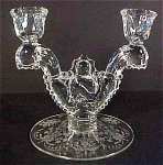 Heisey Waverly Orchid Etch Double Candlestick #1519