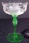 Morgantown Jewel Sherbet Champagne Stem Glass - Vaseline Green