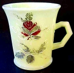 Fenton Custard Glass Cup Mug With Rose @1915