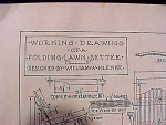 Vintage Blueprint For A Folding Lawn Settee