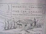 Vintage Blueprint For A One Car Garage