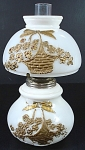 Victorian Milk Glass Oil Lamp - Gold Decorated