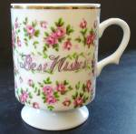 Enesco Best Wishes Footed Mug With Pink Roses
