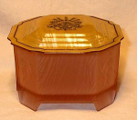 Depression Glass Powder Box Roxana Celluloid Lid