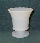 E O Brody Milk Glass Ribbed Pedistal Vase