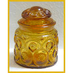 L E Smith Amber Glass Moon & Stars Canister