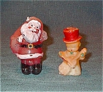 Pair Of Vintage Wax Candles-santa & Musician