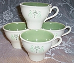 Retro White And Moss Green Coffee Cup Set (4)