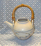 Art Pottery Clay Teapot With Bamboo Handle